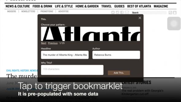 Bookmarklet triggered on iPad