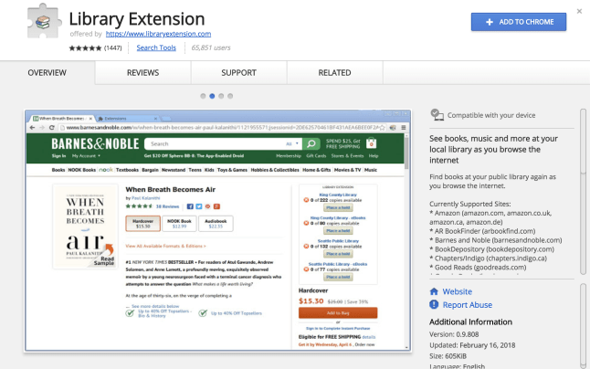 library extension chrome store