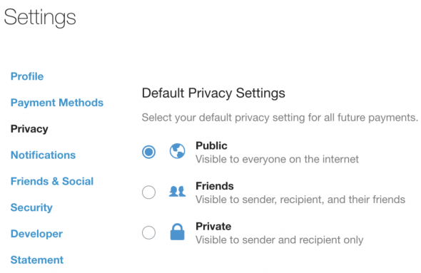 venmo privacy settings browser