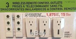 new capstone 3 wireless remote control power outlet light switch 2 remotes nib