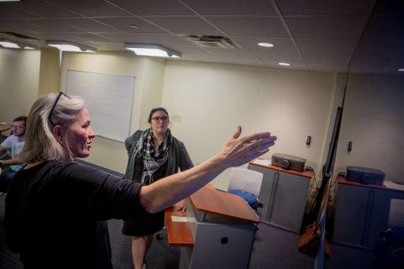 WVU Wikipedian-in-Residence Kelly Doyle speaks to students in Professor Nancy Andrews' Introduction to Photojournalism class at the WVU Reed College of Media on Tuesday, November 3, 2015. (David Smith/WVU Reed College of Media)