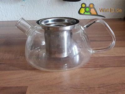 Teekanne mit Edelstahl Sieb, Glasteekanne.