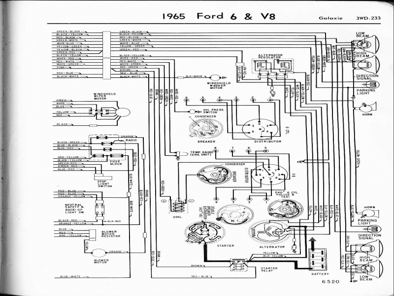 Charging System Wiring Diagram 1963 Ford Galexie  Wiring
