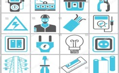 Industrial Icons Set Electrical Engineering Icons Stock Vector