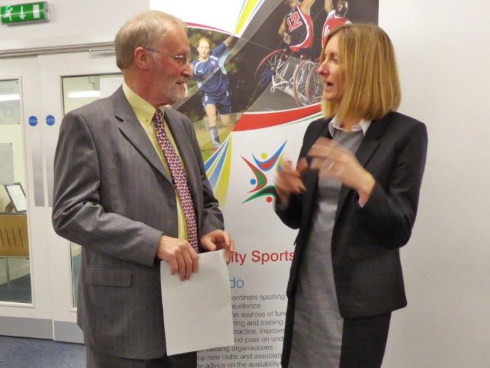 David-in-discussion-with-Ilana-Freestone-Director-Derbyshire-Sport