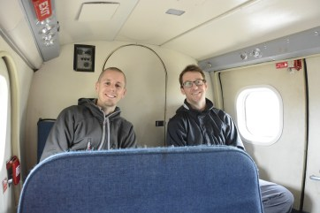 Adam and Andrew, clean and freshly shaven, heading out in to the field on a twin otter.