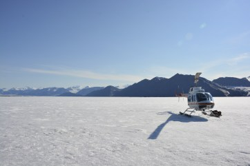 Shot of our helicopter at the epishelf lake mooring.