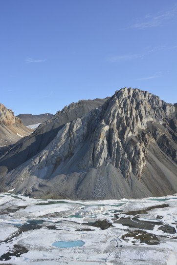 Amazing geology seen from the helicopter while transiting from Purple Valley to the Milne Ice Shelf