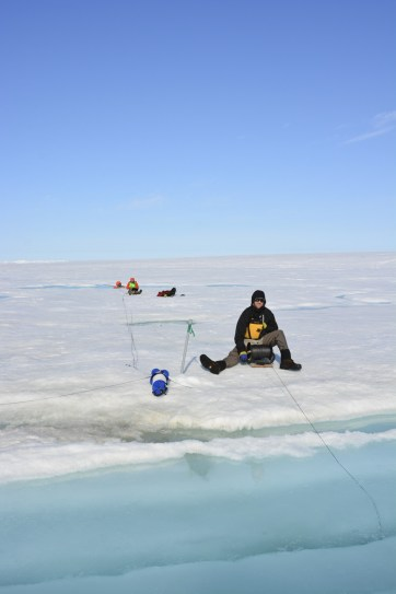 Andrew CTD profiling and Jill setting up the outer Milne Ice Shelf mooring.