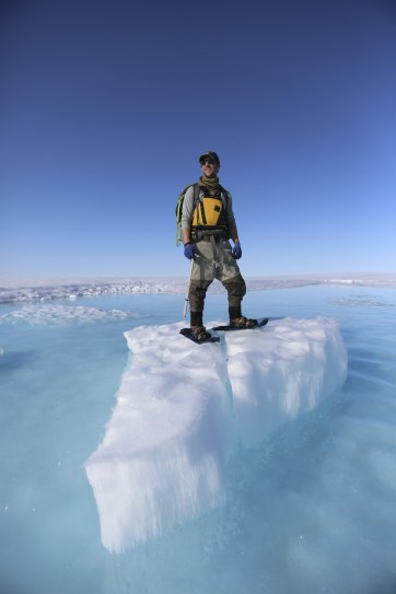 Andrew majestically looking into the distance on the Milne Ice Shelf.