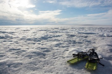 Snowshoes are your best friend during long hikes on the Milne Ice Shelf.