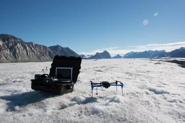 UAV tests on the Milne Glacier using a 3DR Iris+.