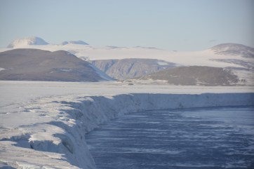 The calving front of the Nansen Ice Shelf with Inexpressible Island in the distance (D.Mueller)
