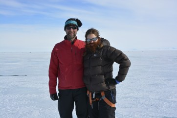 Derek and Christine sporting beards on the ice shelf (JH. Kim)
