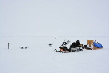 Shot of equipment used to setup the field site near Iqaluit, seen with heavy fog (A.Garbo)