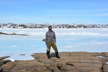 Martin St-Amant posing at the site where the TopCon DGPS was located, near Iqaluit, NU. (A.Garbo)