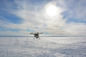 The DJI S800 in the process of landing after having successfully conducting an aerial survey. (A.Garbo)