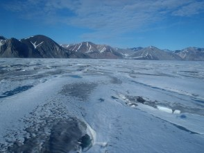 The Milne Ice Shelf is very thin and dirty near the epishelf lake to the south. (D.Mueller)