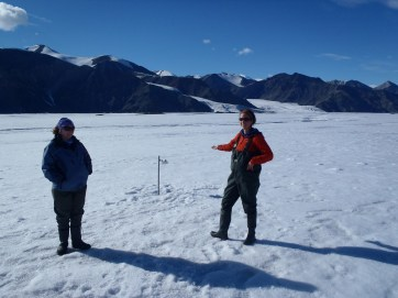 Kelly Graves (left) and Jill Rajewicz (right) installing ablation stakes along the Milne Glacier.