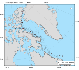 A map of the ice islands from the 2010 Petermann Glacier calving event. On August 5, 2010 302 km2 of ice calved from Petermann Glacier, northwest Greenland. By December 31, 2013, 9658 polygons were observed in 3020 images as far south as Newfoundland.