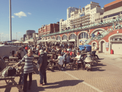 At the seafront. The weather was so great that it was really crowded. There was live music at the music hall, really recommendable!