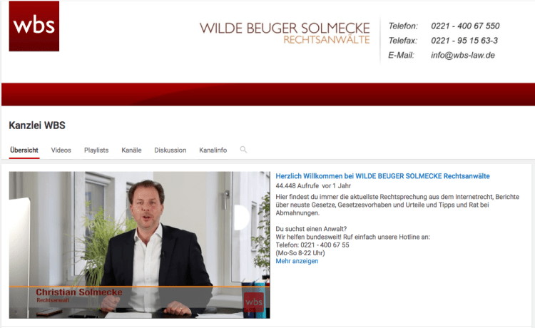 Screenshot von WBS Law bei YouTube