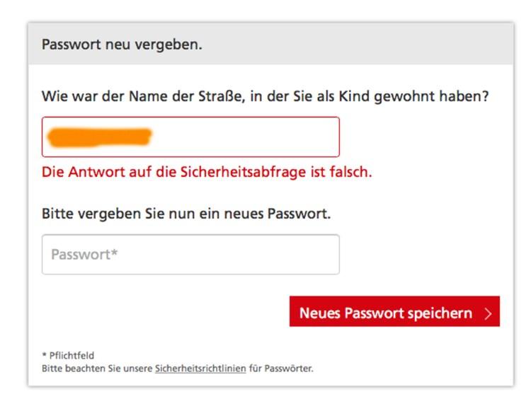 Die Antwort auf die Sicherheitsfrage ist falsch. WTF?