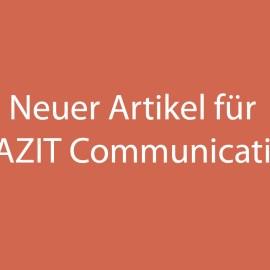 Neuer Artikel für FAZIT Communication