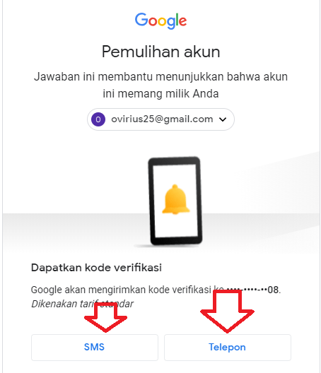 Cara Reset Password Gmail dengan No HP