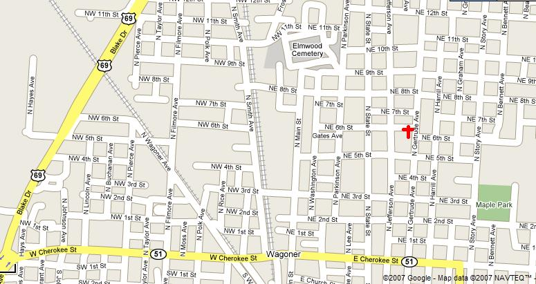 Map to get to Immanuel Southern BaptistChurch.