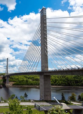 The Penobscot Narrows Bridge with an observatory at the top of one of the spires. Great for viewing the Maine landscape from above.