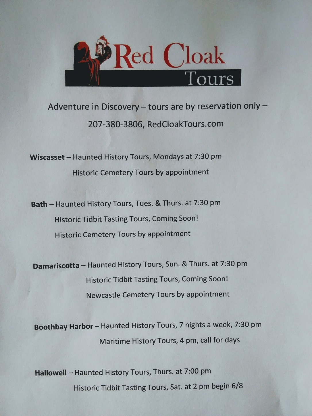 Schedule of Redcloak Tours Walking Tours in Midcoast Maine.