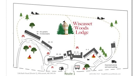Map of Wiscasset Woods Lodge in Midcoast Maine