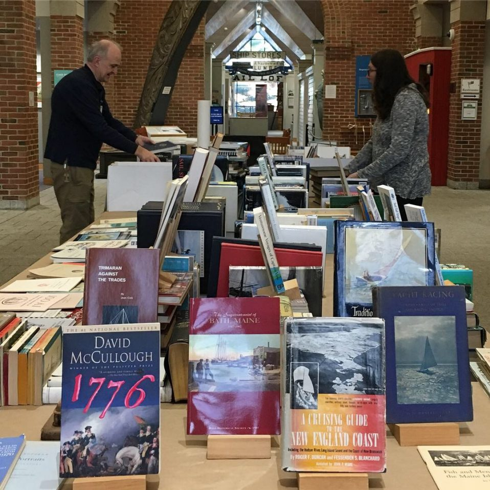 Lots of books on sale at the gift store in the Maine Maritime Museum in Bath, Maine.