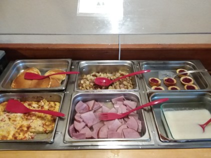 Photo of our homemade breakfast buffet at Wiscasset Woods Lodge