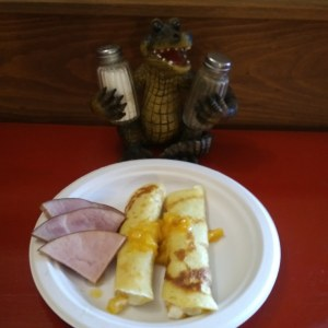 Peach crepes and ham