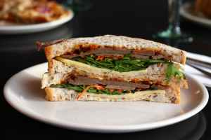 close up photo of vegetable sandwich on plate