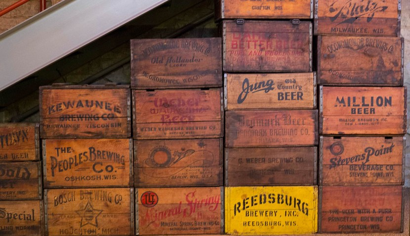 Old wooden beer cases inside the Potosi Brewery Museum
