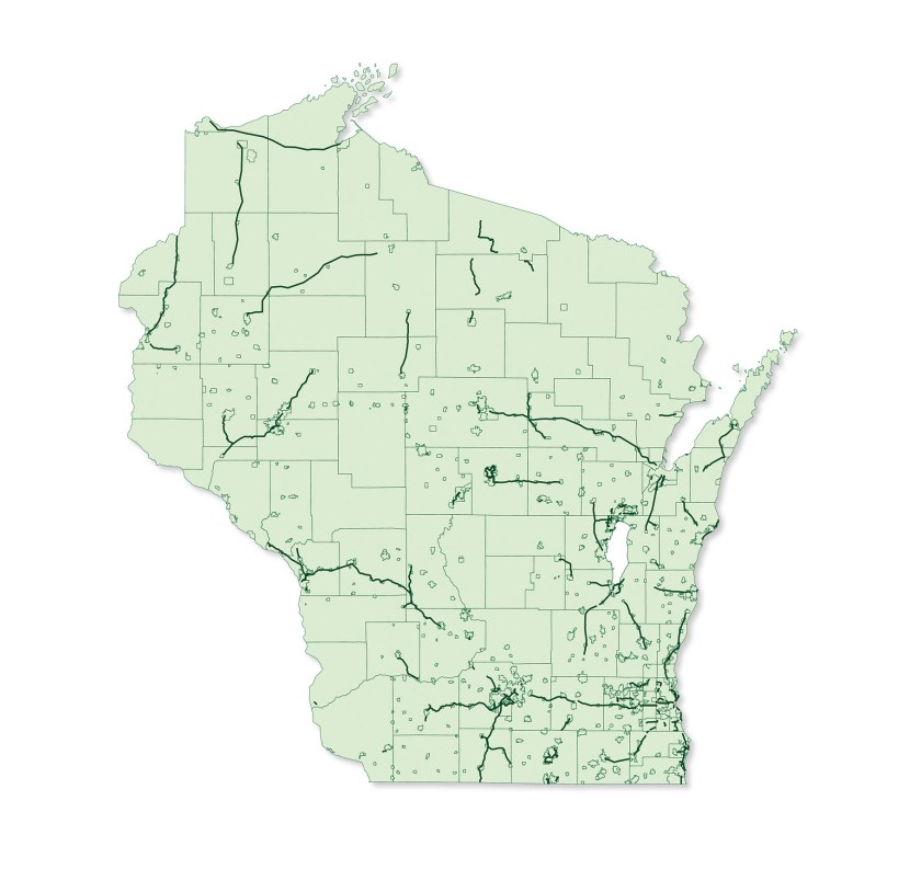Map of Wisconsin that shows the existing bicycle trail network as of 2013.