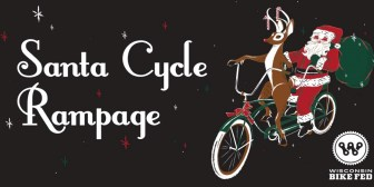 rudolph and santa on a tandem bike