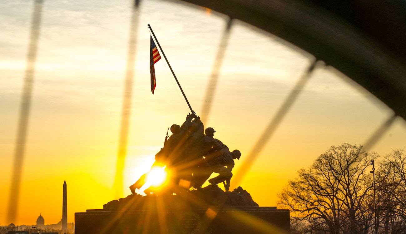 sun riding behind us marine corp iwo jima memorial in Washington, D.C.