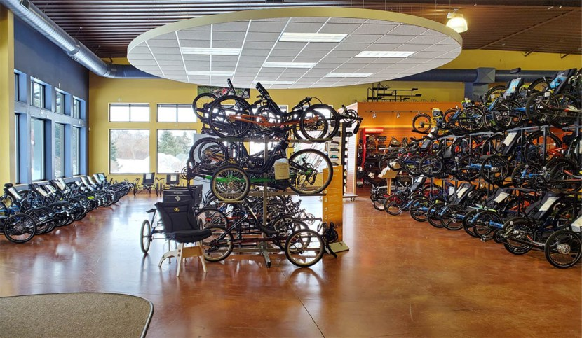 interior of bike shop