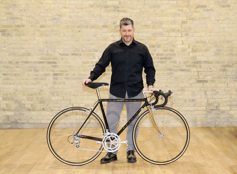 Kevin Eccles shows off his completed Schwinn Paramount