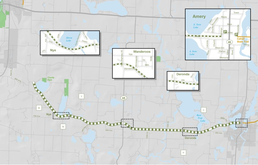 A map of the Seven Lakes Trail with close-ups of Nye, Wanderoos, Deronda, and Amery.