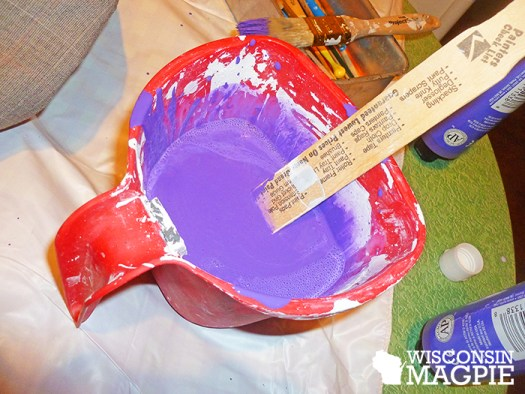 purple paint with textile medium
