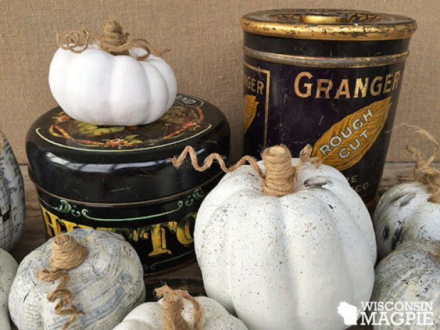 decoupaged and painted pumpkins