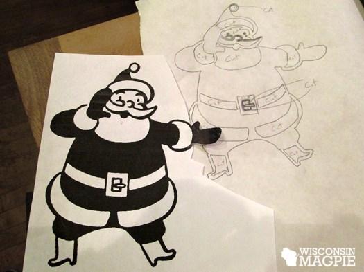 vintage Santa graphic on parchment paper