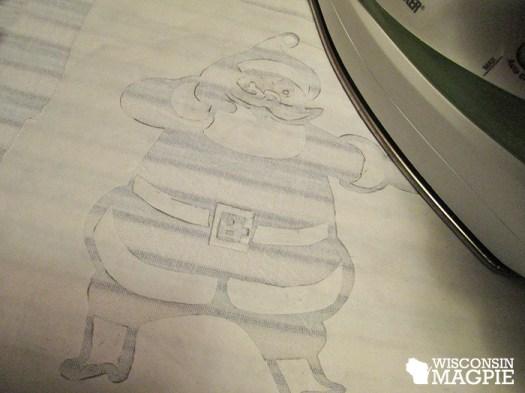 iron stencil onto flour sack dishtowel