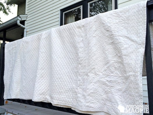 old white bedspread