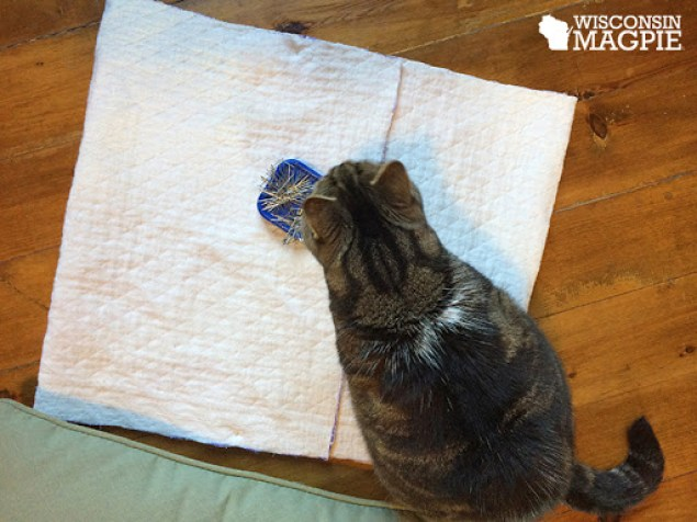 sewing a pillowcase out of a bedspread